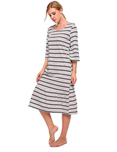 ADOMER Damen Nachthemd Baumwolle Loose fit Bluse Kleid Herbst ...
