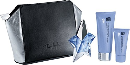 Thierry Mugler Angel Refillable Eau De Parfum 25 ml and Shower Gel 30 ml with Body Lotion Gift Set 100 ml