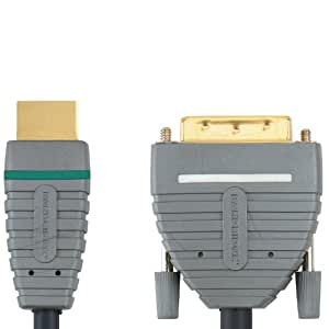 Bandridge 1m 100 Percent Oxygen Free Copper 24K Gold Connectors DVI to High Speed HDMI Cable