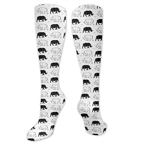 ZENGYAN Black White Rhinos Compression Sock for Women & Men - Best for Running, Athletic Sports, Flight Travel 19.68
