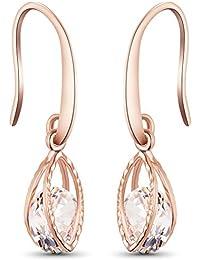SWEETIEE - Boucles d'Oreilles Crochet femme Plaque Or Rose, Feuilles avec AAA Zircon scintillant, Or Rose,cadeau ideale pour la fete des meres 30mm