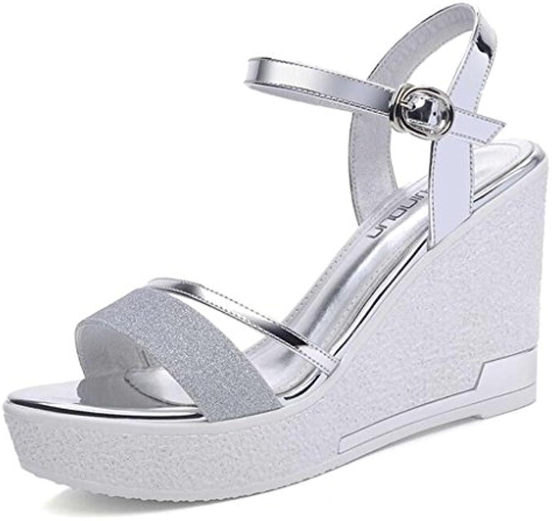 60a2226847ce Sandals Sequined Cloth +PU Upper Upper Upper Female Summer High Heels Thick  Sole Slope Shoes B07CP7KHRT Parent 788574