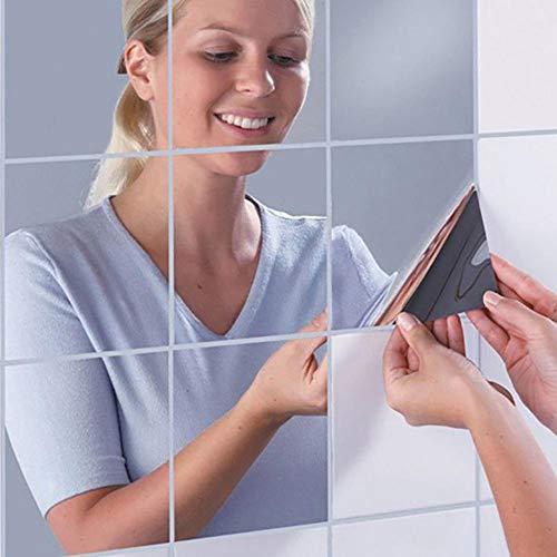 Juego de 16 pegatinas para espejo de pared, de plástico, autoadhesivas, cuadradas, cuadradas, decorativas...