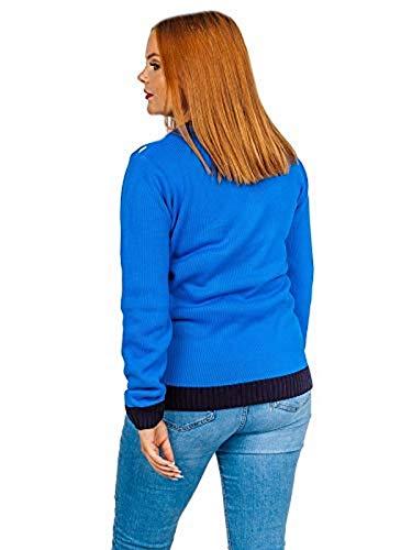 Mymixtrendz. Pull de Pull à Manches Longues Cardigan Multi imprimé Cardigan de Noël Femmes (SM (UK 8-10), Blue)