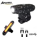 AMANKA Luci per Bicicletta, Luce Bici Anteriore e Posteriore Ricaricabile USB Impermeabile,4 Modalità di Illuminazione,Facile da Installare