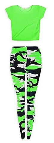 Jolly Rascals Neon Crop Top Camo Legging Set Neon Green 11-12 Years