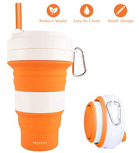 PREMYO Faltbarer Kaffeebecher to Go - Silikon Mehrwegbecher mit Deckel und Strohhalm - Trinkbecher Auslaufsicher - Orange