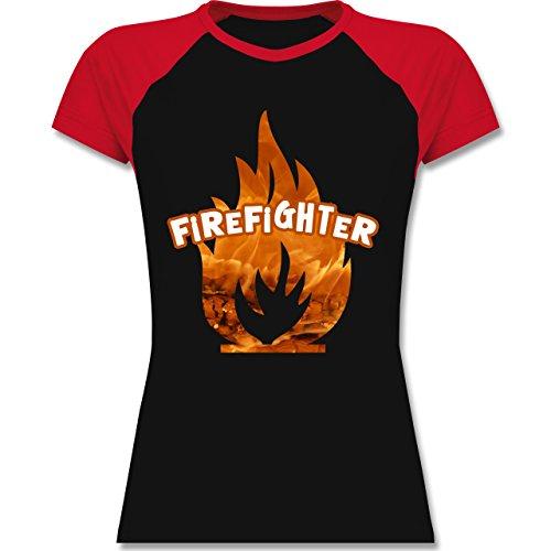 Shirtracer Feuerwehr - Feuer Flammen Firefighter - Zweifarbiges Baseballshirt/Raglan T-Shirt für Damen Schwarz/Rot