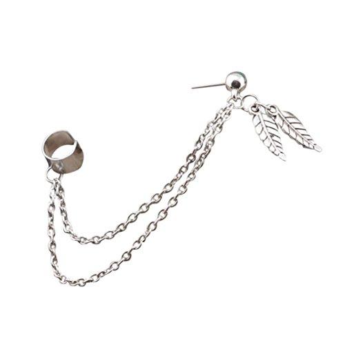 Preisvergleich Produktbild Damen Ohrringe Schmuck Ohrstecker stecker DAY.LIN Punk Persönlichkeit Clip Tassel Blatt Charme Metall Ohrclip Ohrstecker (B)