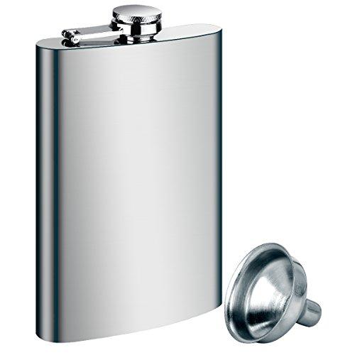 Tatuer Flachmann Metall, Camping Zubehör Edelstahl Flachmann Trichter Set -1*4oz 112 ml Flachmann + 1* Trichter (Silber)