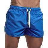 MOTOCO Herren Shorts Badehose schnell trocken Strand Surfen Laufen Schwimmen elastische Taille gespleißt Watershort Hose(M,Blau-2)