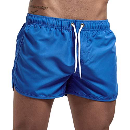 MOTOCO Herren Shorts Badehose schnell trocken Strand Surfen Laufen Schwimmen elastische Taille gespleißt Watershort Hose(XL,Blau-2) -