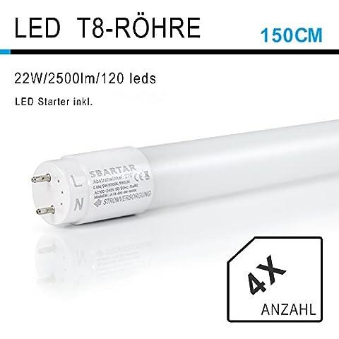 SBARTAR 150CM LED Leuchtstoffröhre, T8 G13 Tube Leuchtstofflampe 22W 3000K Warmweiß 2500lm, 48Watt-Ersatz, Abstrahlwinkel 270°, inkl. Starter, 4 Stück