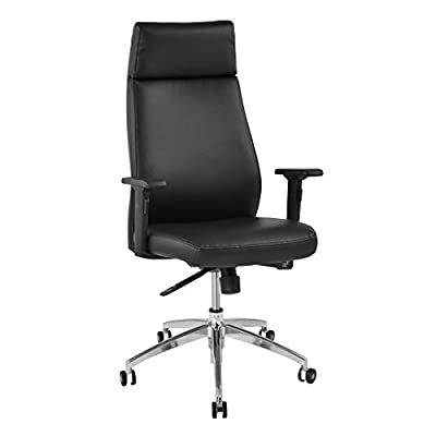 LANGRIA Comfortable High Back Leather Executive Chair for Home and Office Use, 2D Adjustable Armrests, Back Tilt Mechanism, 360 Degree Swivel, Max Weight Capacity 150kg, Black Back - cheap UK light store.