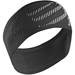 Compressport Headband - Cinta de cabeza unisex, color negro, talla única