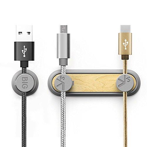 WisFox Magnetische Kabelclips, Mehrzweck-Kabel-Clips, Cord Organizer & Desktop Kabel Organizer Clips Multifunktions Kordel Management-System für Kopfhörer Drähte, Netzkabel, Ladekabel, USB-Kabel, Handy-Ladegeräte, Audio-Kabel (Grau)