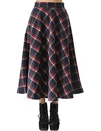 Teerfu langer Damenrock für Herbst und Winter, plissiert, warme Wolle