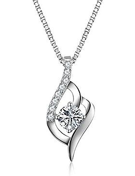 S Vantine Kette Damen 925 Sterling Silber Schillerndem Zirkonia langer Halskette Silber Zirkonia Damen Schmuck...