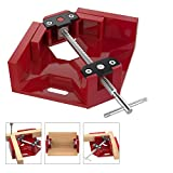 Housolution Right Angle Clamp, Single Handle 90°Corner Clamp, Aluminum Alloy Right Angle Clip Clamp Tool Woodworking Photo Frame Vise Holder with Adjustable Swing Jaw - Red