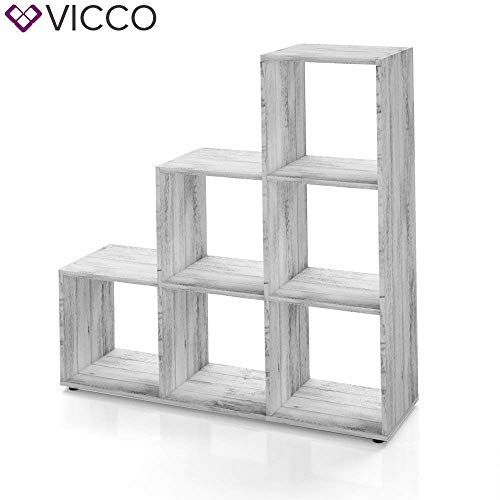 Vicco Treppenregal 6 Fächer in Grau Beton - Raumteiler Stufenregal Bücherregal Aktenregal Standregal