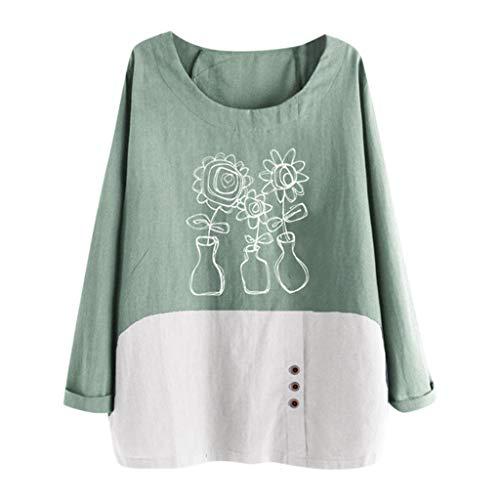 Damen Tops Für Damen Somerl Beiläufiger Großer O Ansatz Druck Lose Knopf Tunika Hemden Pullover Tops for Women(Grün,M)