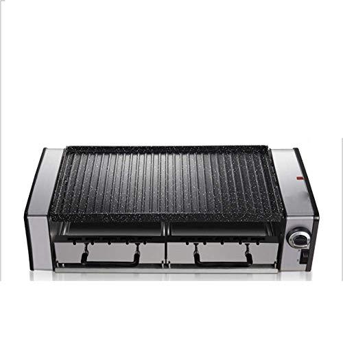 zyt Elektrogrill Doppelschicht Antihaft-Material Verdicken Automatische Ölabgabe Doppelseitige Backform Intelligentes Thermostat Schwarz (Large Small)