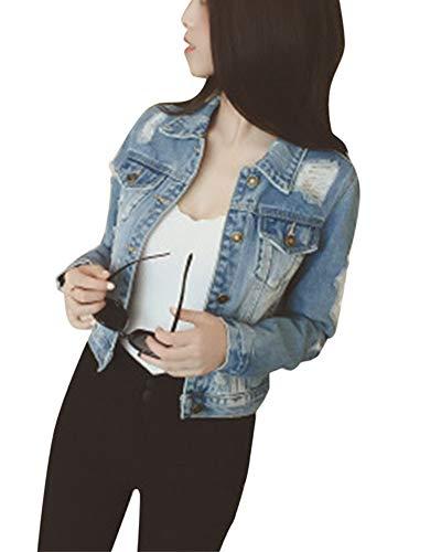 LiangZhu Damen Casual Loch Jeansjacke Gewaschen Blouson Kurzer Absatz Denim Jacket Jeans-Jacke Blau M (Damen Jacke Jeans)