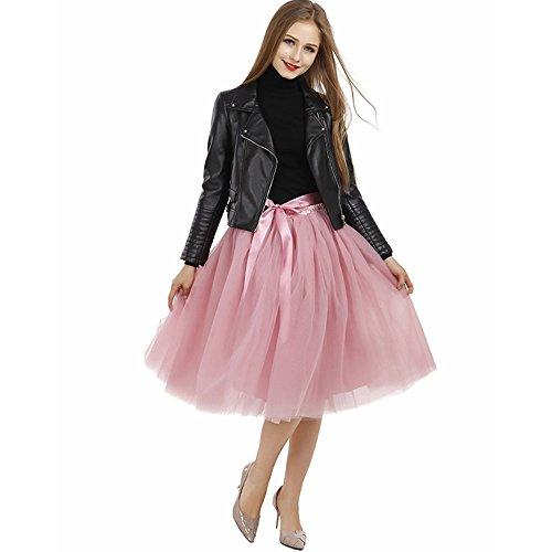 Tyhbelle Damen 7 Layer lang Tutu Tüll Röcke Gefalteter mit Gummizug Lolita Petticoat Tuturock (Mauverot) -