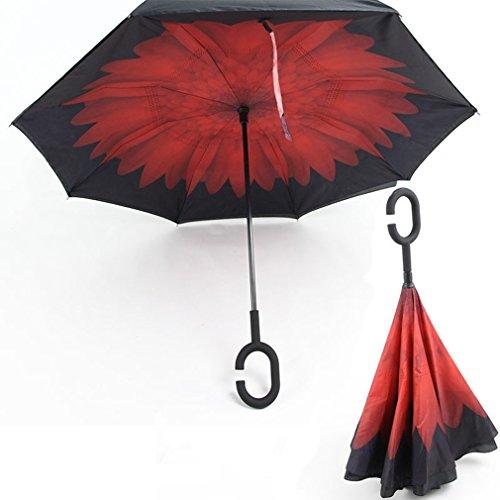 RAIN QUEEN Regenschirm Schirm Double Layer Frei Hände c-förmigen Griff Rückseite Outdoor UV-Schutz umkehren Auto Regenschirm windundurchlässiger 105cm (Rot) (Double-layer-regenbogen)