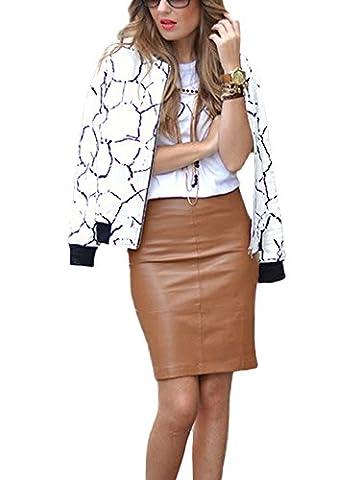 Minetom Femmes Nouvelles Décontractée Floral Imprimé Bomber Jacket Mode Manches Longues Veste Blouson Printemps Automnes Mince Manteau Blanc 02 FR 40