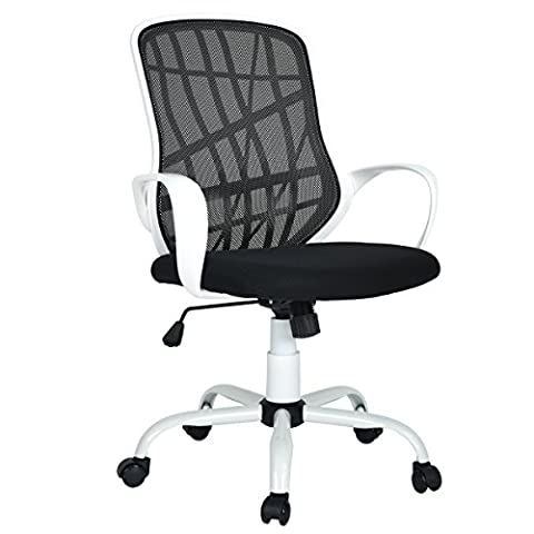 Aingoo Office Task Chair Mesh Swivel Tilt Computer Desk Chair Lumbar Support with Arms, White and Black