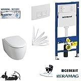 Geberit Duofix Vorwandelement, KERAMAG ICON XS WC Spülrandlos Komplettset + Deckel Absenkautomatik, Keratect Beschichtung, Schallschutz, Drückerplatte weiss Eckig