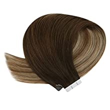 YoungSee Balayage Tape in Hair Extensions - Ombre Brown mixed Blonde - Double Sided Adhesive Seamless Human Hair Extensions Tape Remy Hair 50g/20pcs 18inch