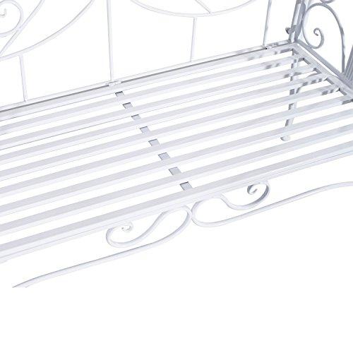 Outsunny Gartenbank, Metall, weiß, 134 x 51 x 89 cm, 840-053 - 8