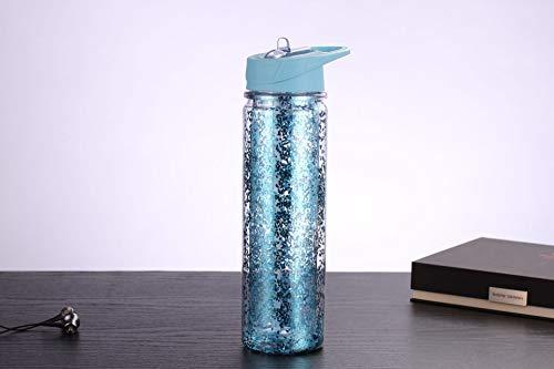 Doppelte Plastikbecher Student männliche und weibliche Isolierung 550ml blau,Vakuum-Thermosflasche,Stainless Edelstahl, Integrierter Thermobecher, Isolierung Isolierflasche Isolierkanne Kaffeekanne