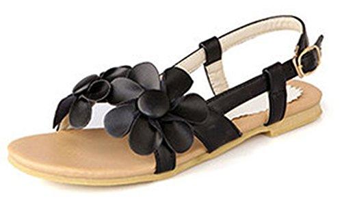 Aisun Femme Mode Bohémien Fleur Plat Sandales Avec Boucle Noir