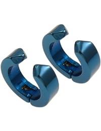 Klappcreolen aus Edelstahl, blau, 13 mm - Steckcreolen, ohne Ohrloch