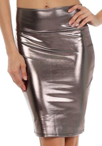 sakkas-2695-jupe-crayon-femmes-taille-haute-finition-liquide-metallique-brillante-etain-large