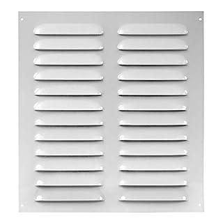 Lüftungsgitter 260x280mm Weiß Wetterschutzgitter mit Insektenschutz aus Stahlblech, mr2628