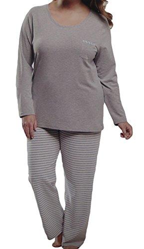 Damen PYJAMA große Mode Schlafanzug 2 Teiler Langarmshirt und Hose Set, Farbe:Grau, Größe:44/46
