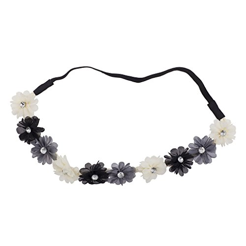 Elfenbeinfarben grau Kristall Stein Floral Elastic Headwrap Stirnband ()