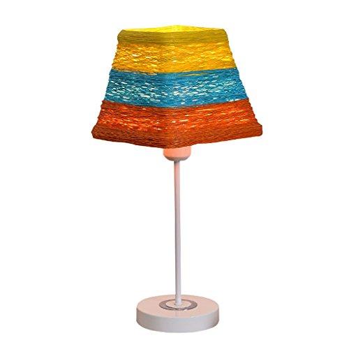 HALORI Moderne Tischlampe E27 quadratisches Wohnzimmer Schlafzimmer Restaurant Nachttisch Lampe Mode Dekoration Kunst Kinderzimmer Rattan Nacht Licht - Rattan-quadratischer Tisch