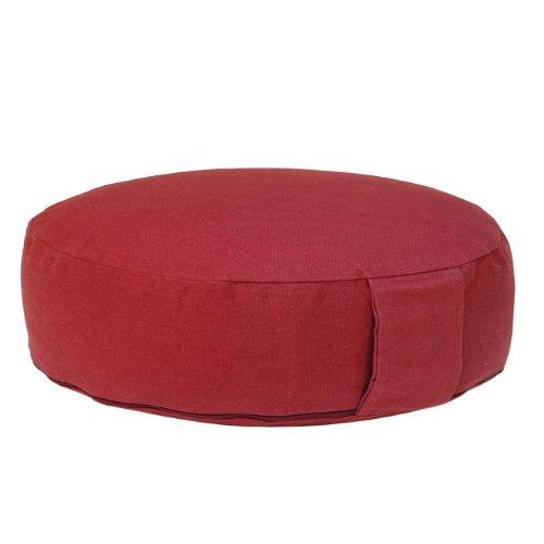 Meditationskissen RONDO BASIC extra-flach mit abnehmbarem Bezug, Dinkel-Füllung , bequemes Sitzkissen, Yogakissen, niedrig, Ø 34cm (weinrot)
