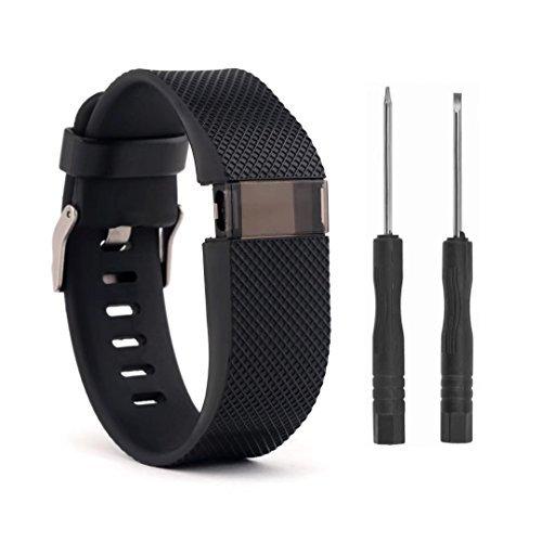 VAN-LUCKY Bandes de Rechange de Silicone Bracelet Bracelet Bracelet pour Fitbit Charge HR Accessoires de Bande Grand (Ne Convient Pas à Fitbit Charge, Fitbit Charge 2)