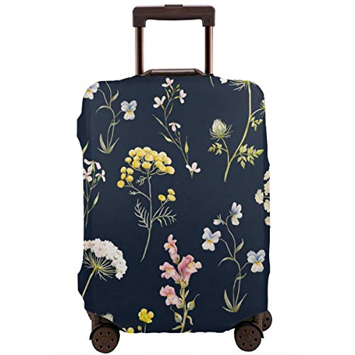 Travel Suitcase Protector,Watercolor Floral Pattern Delicate Flower Wallpaper Wildflowers Pink Tansy Pansies,Suitcase Cover Washable Luggage Cover M