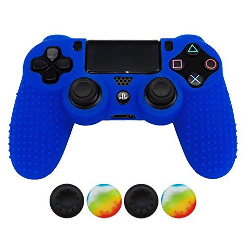 Hikfly Anti-Rutsch-besetzte Gummi Öl Silikon Controller Abdeckung mit 4pcs Daumen Griffe Kappen Kit für Sony PS4 / Slim / Pro Controller(Blau)