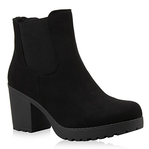 Damen Stiefeletten Chelsea Boots Profilsohle Blockabsatz Schwarz Velours