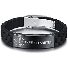 7d38fe650a14 Vnox Personalizado Personalizado Alerta Médica de Acero Inoxidable Etiqueta  de ID Negro de Silicona Pulsera Ajustable