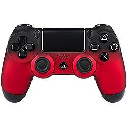 eXtremeRate Funda Carcasa Frontal Cubierta Shell Superior Antideslizante para Mando inalámbrico Playstation 4 dualshok 4 PS4 Original (Negro y Rojo)
