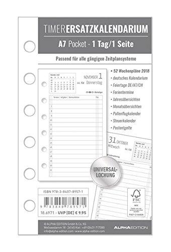 Timer Ersatzkalendarium A7 2018 - Bürokalender / Buchkalender - Universallochung - 1 Tag 1 Seite - 352 Seiten